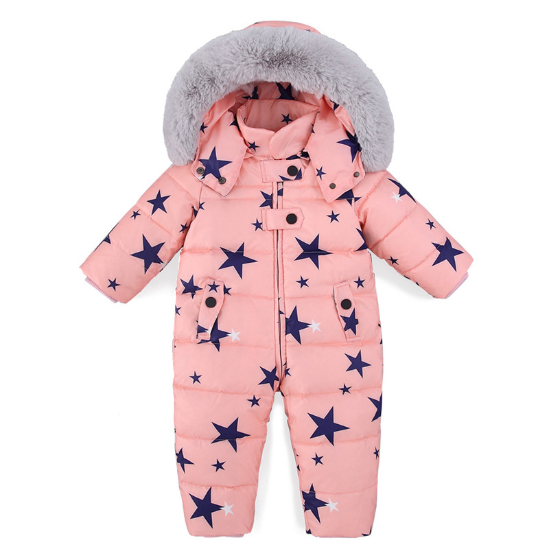 Russia Winter Snowsuit 2018 Baby Girls Boys Jacket Duck Down Outdoor Children Parka Coat Infant Clothes
