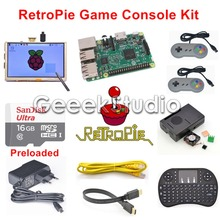 Raspberry Pi 3 Model B 16GB Preloaded RetroPie Game Console Kit with Two SNES Controllers Joypad & 5 inch 800*480 Touch Screen