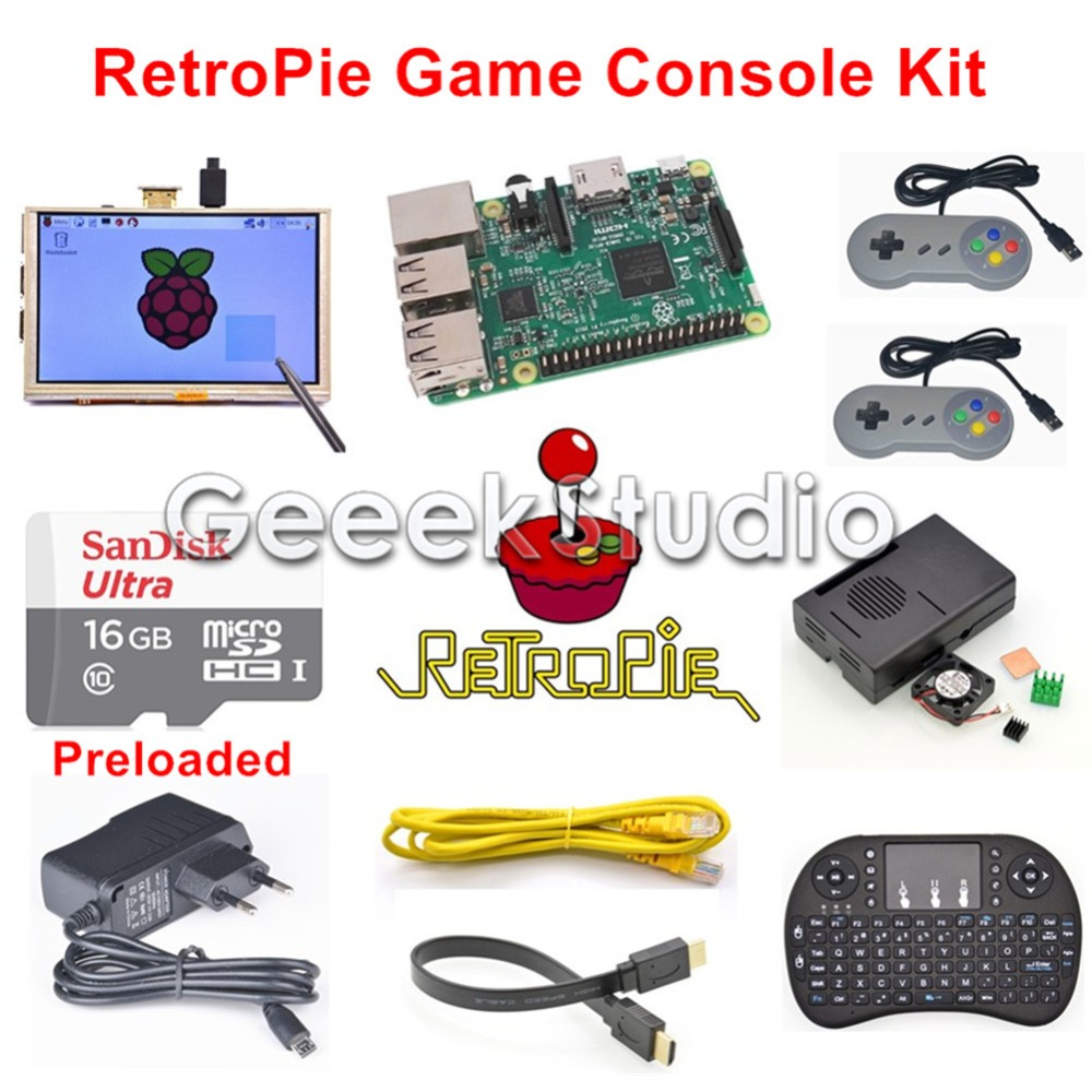 Raspberry Pi 3 Model B 16GB Preloaded RetroPie Game Console Kit with Two  SNES Controllers Joypad & 5 inch 800*480 Touch Screen-in Demo Board from