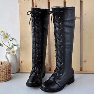 2014 cosplay boots vintage black and white high lacing martin boots boots