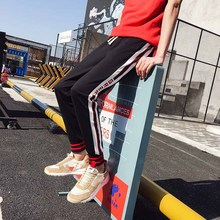 Outdoor 2019 Spring autumn sports running hip hop joggers elastic waist striped teenagers sweatpants men stuldents trousers