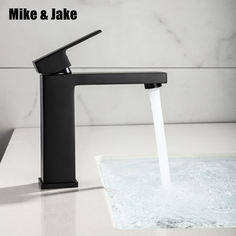Matte Black square basin Faucet Bathroom water Faucet Vanity Vessel Sinks Mixer Tap Cold And Hot