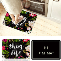 Thug Life Flowers Doormat Rubber Anti Slip Entrance Floor Carpet Absorbent Bathroom Rugs Shower Pad Living