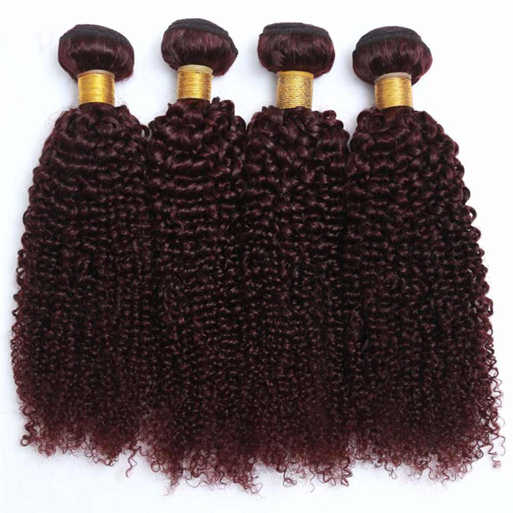 "Shireen Pre-colored Indian Kinky Curly Hair Weave 3 Bundles Bold 99j Red Burgundy Remy Human Hair Extensions 10""-28"" Free shipp"