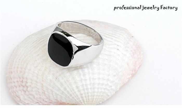 Hot Bán Thời Trang Đen Nhẫn Cưới For Men Thương Hiệu Sang Trọng đen Onyx Stones Tinh Thể Nhẫn Thời Trang 18 KRGP Nhẫn Nam Trang Sức R0378