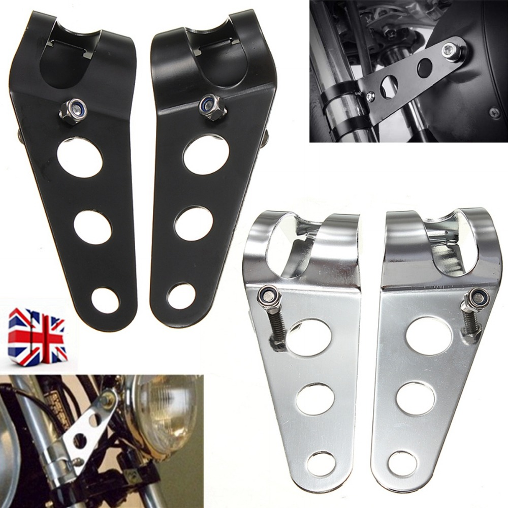 Noir/Chrome support de montage de phare pour motos fourche Bobber Racer 35mm-43mmNoir/Chrome support de montage de phare pour motos fourche Bobber Racer 35mm-43mm