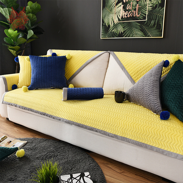 Yellow Coffee Red Wave Quilted Plush Sofa Cover Cama Slipcovers For