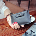 2017 Pink Super Simple Thin Bowknot Head Genuine Leather Short Chain Zipper Wallet Soft Leather Wallet Girl Cluch Bag Coin Purse
