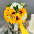 2016 Country Style Yellow Artificial Wedding Bouquets Bouquet De Marie Beautiful Sunflower Bridal Brooch Bouquets Ramos De Novia