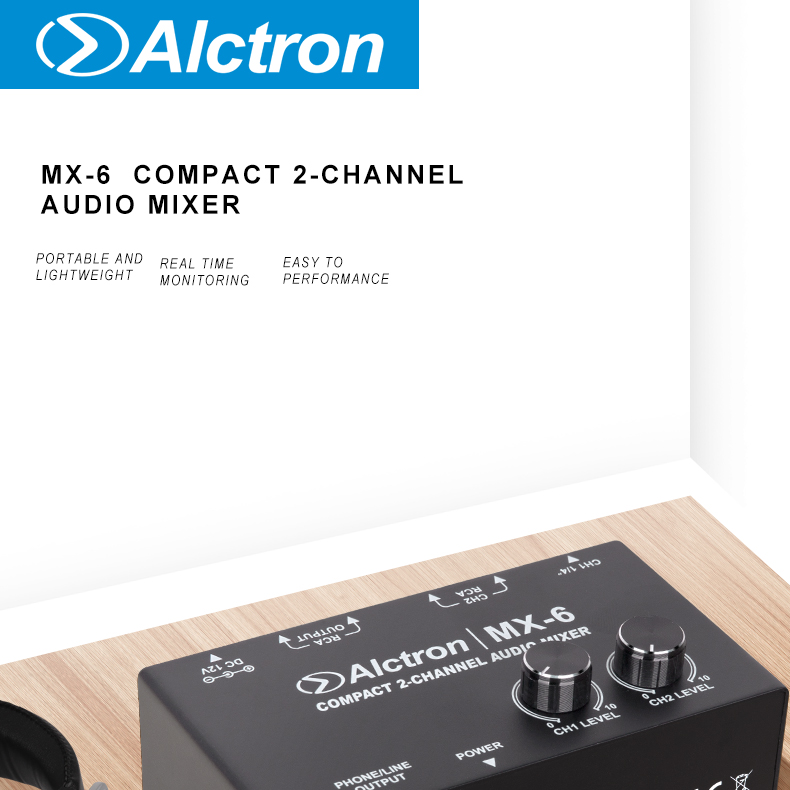 Alctron MX-6 mixer used in stage performance, studio recording