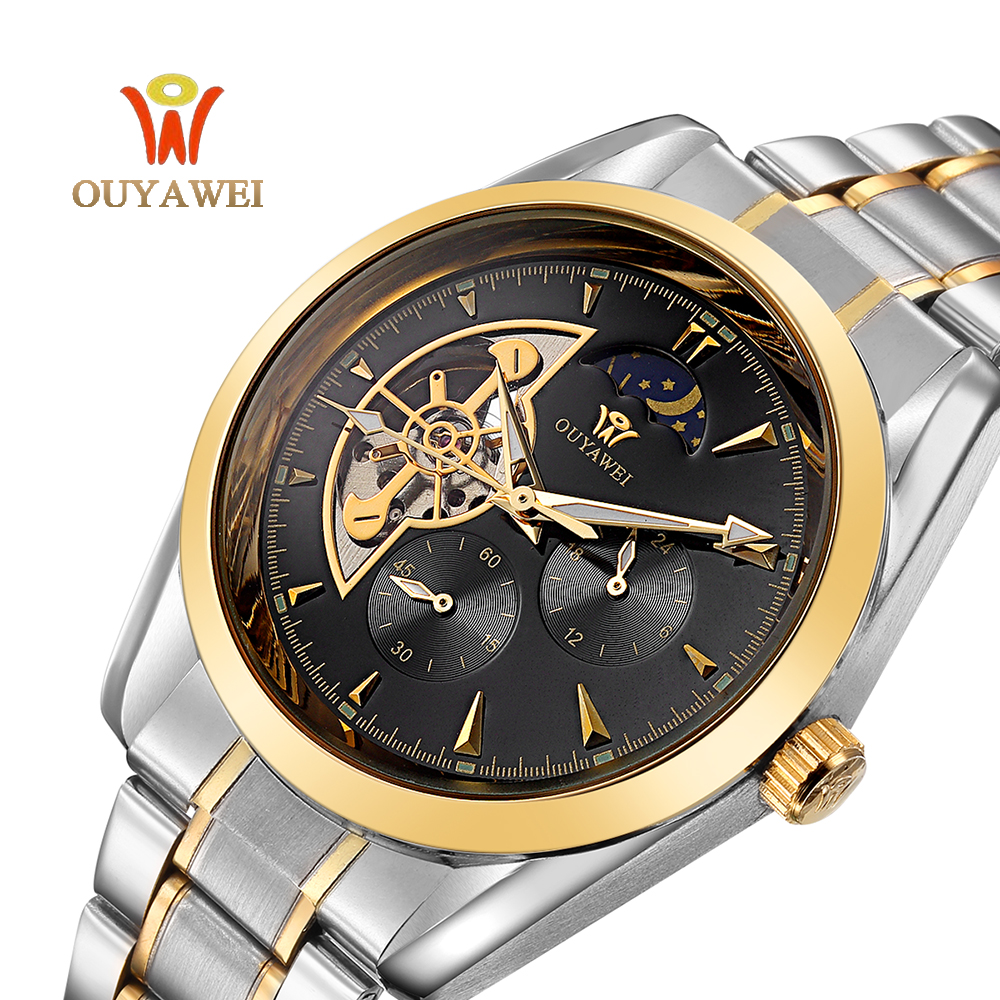 OUYAWEI Brand Gold Mechanical Watches Luxury Automatic Watch Mens Stainless Steel Skeleton Wristwatches Reloj Hombre Gift Clocks ouyawei 2017 montre steampunk bronze skeleton mechanical watches mens antique automatic leather watch mechanical wristwatches