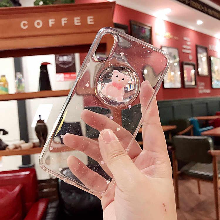 ... Gimfun Luxury 3D Cartoon Bear Liquid Ball Phone Case for Iphone 7 6s 6  8 Plus ... f91f1354ac4a