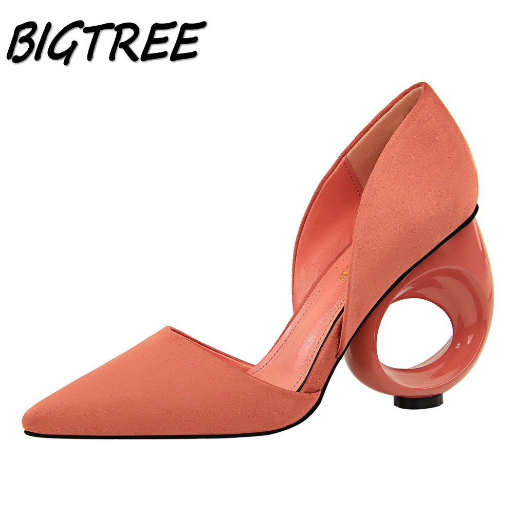 BIGTREE Summer Women Pointed Toe High heels Shoes Woman Pumps Ladies Fashion Exquisite Wedding Party Shallow Strange Heels Shoes