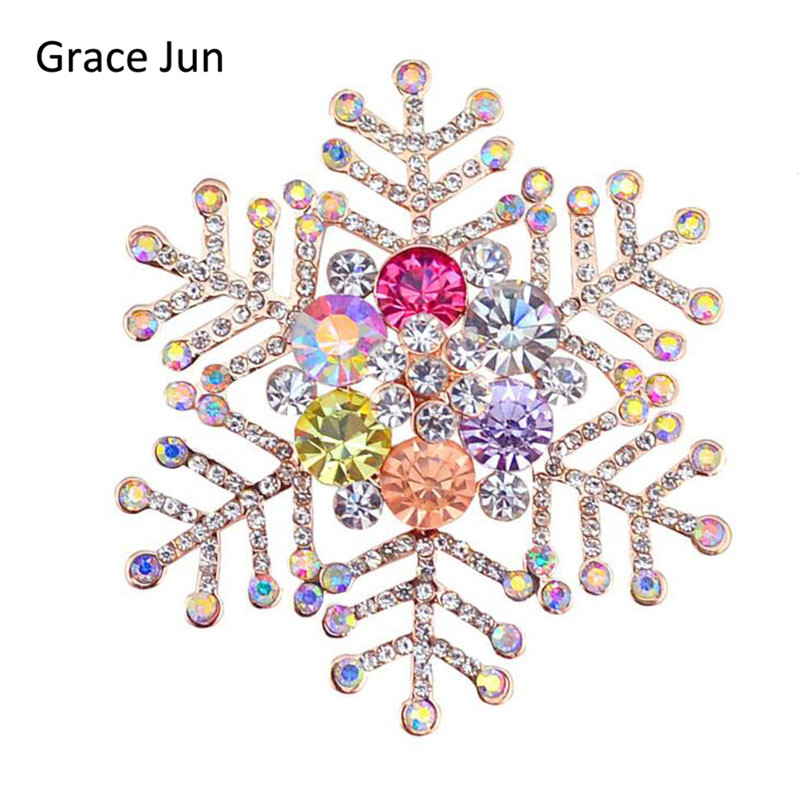 New 2017 Multi-color Rhinestone Snowflake Brooches for Women Wedding Elegant Hijab Pins  ...