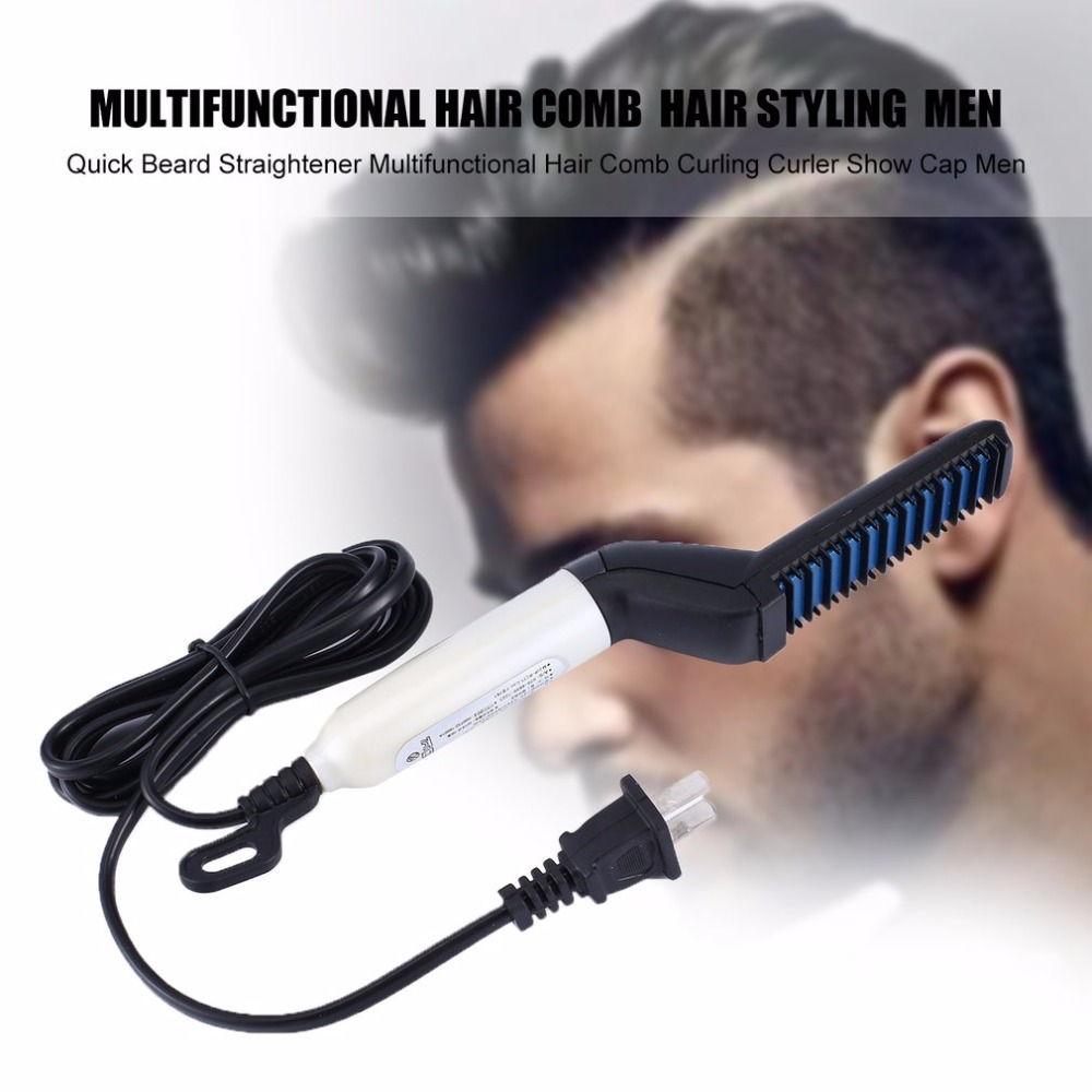 Multifunctional Hair Comb Quick Beard Straightener Curling Curler Show Cap Men Beauty Hair Styling Tool