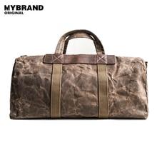 MYBRANDORIGINAL reise totes wachs leinwand männer reisetasche männer große kapazität reisetaschen vintage tote wochenendreisetasche B102