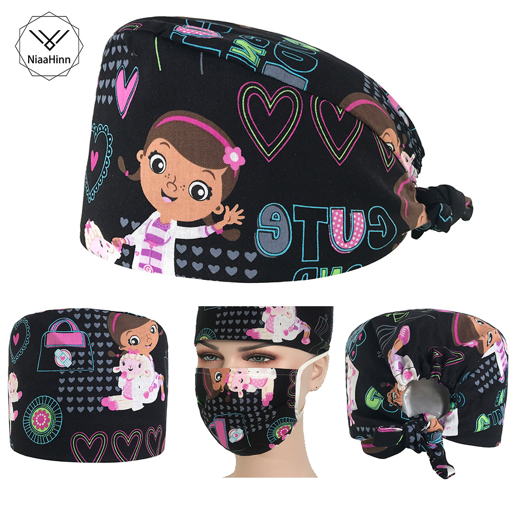 Cartoon Nurse Print Beauty Cap And Mask Practical Medical Surgical Surgery Hat Nurses Printing Cap Doctor Hats Women Scrubs