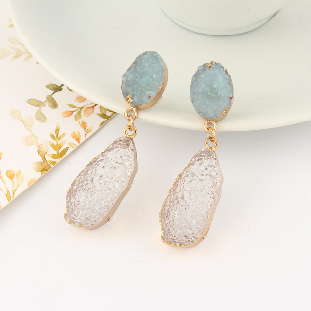 Dayoff Unique Oval Resin Stone Earings For Women Jewelry Handmade Earrings Fake