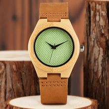 Modern New Arrival Sport Casual Trendy Simple Quartz Genuine Leather Band Strap Wrist Watch Nature Wood Women Novel Bamboo
