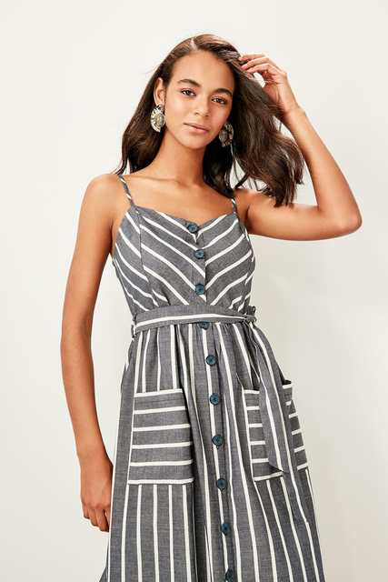 6be4aea526 Trendyol Mavi Belted Halter Dress TWOSS19ST0130
