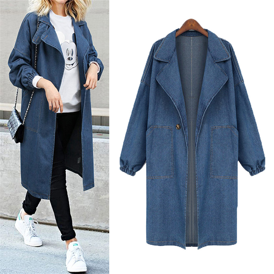 Hodisytian Autumn Fashion Women Denim   Trench   Coat Street Casual Elegant Long Windbreaker Outerwear Overcoat Casaco Plus Size