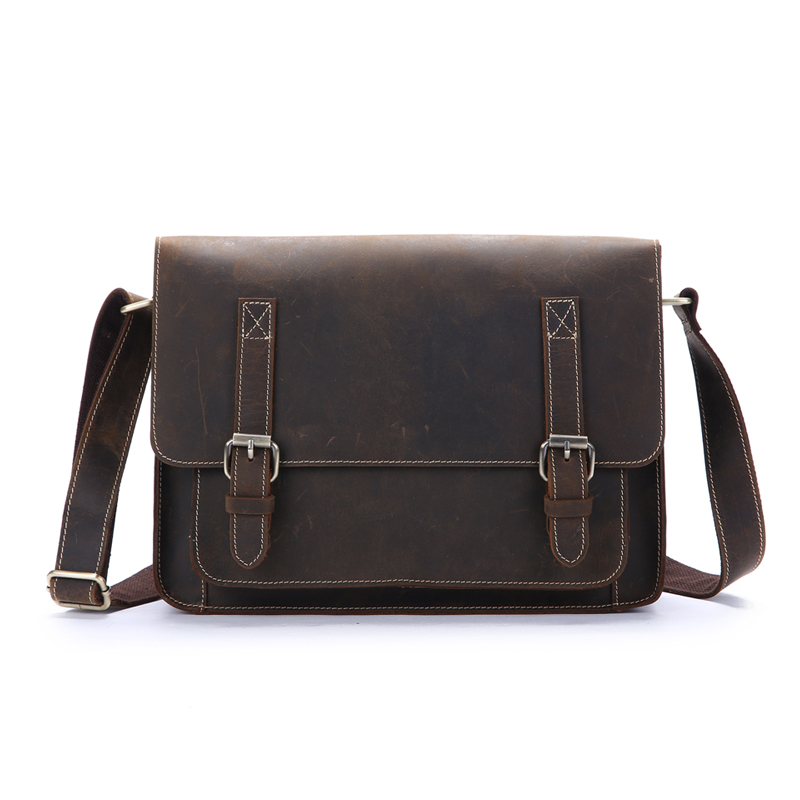 NEWEEKEND Retro Casual Genuine Leather Cowhide Crazy Horse Messenger Shoulder Crossbody iPad Bag Briefcase for Man