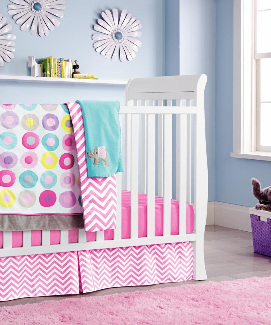 Ups Free Pink Circle Cartoon Baby Bedding Set Baby Cradle