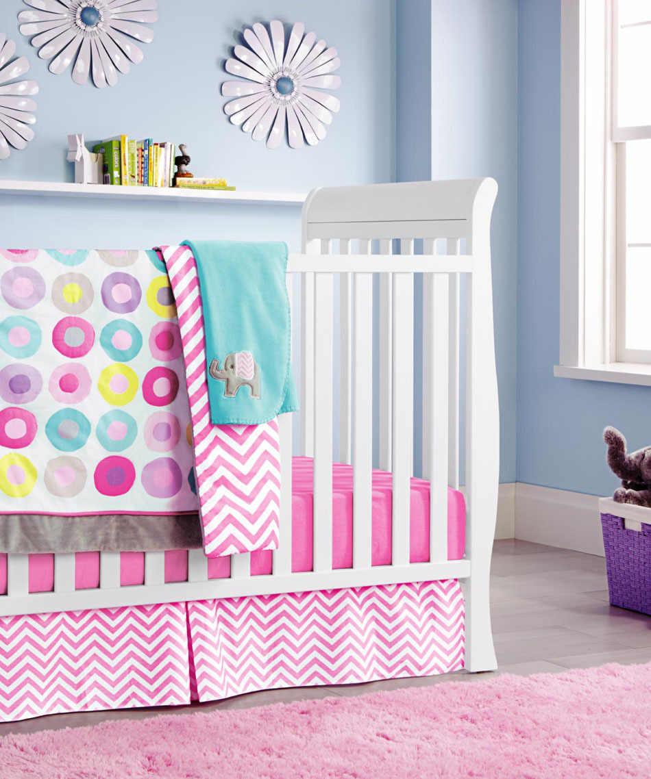 Ups gratis Rosa círculo de dibujos animados Bebé Ropa de cama conjunto cuna ropa de cama conjunto cunas cuna edredón sábana parachoques cama falda incluido