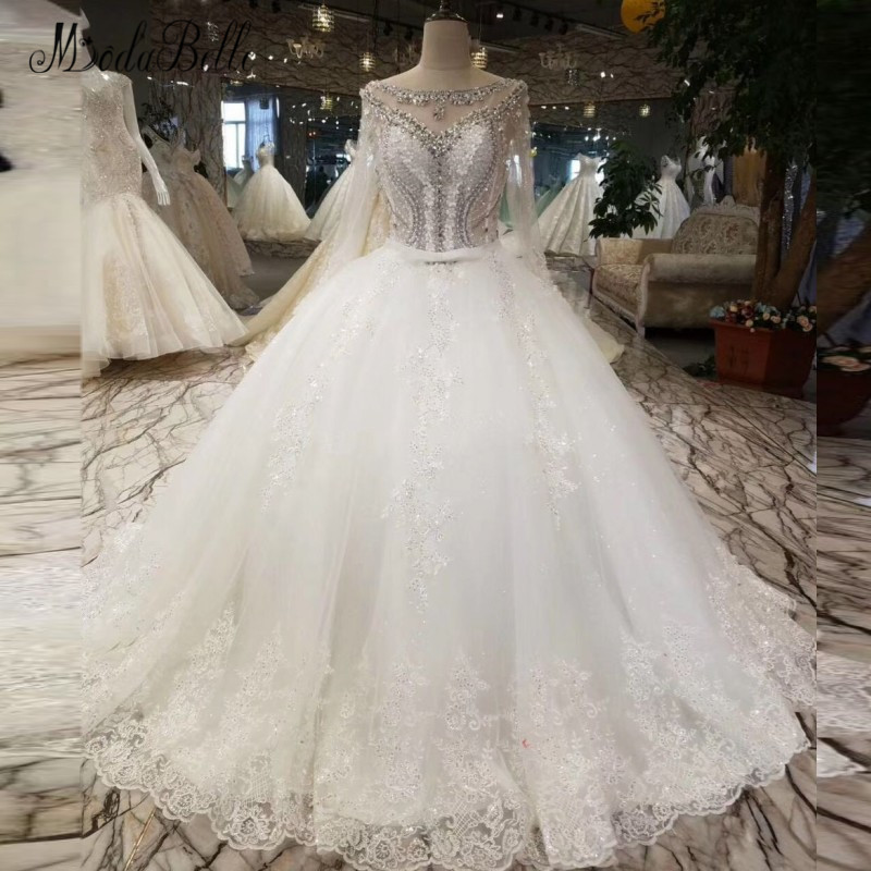 8c2239cb2c968 US $280.5 15% OFF|modabelle Crystal Lace White Wedding Dress Bride Vestido  De Novia Princess Sexy Backless Luxury Beaded Long Sleeve Bridal Gowns-in  ...