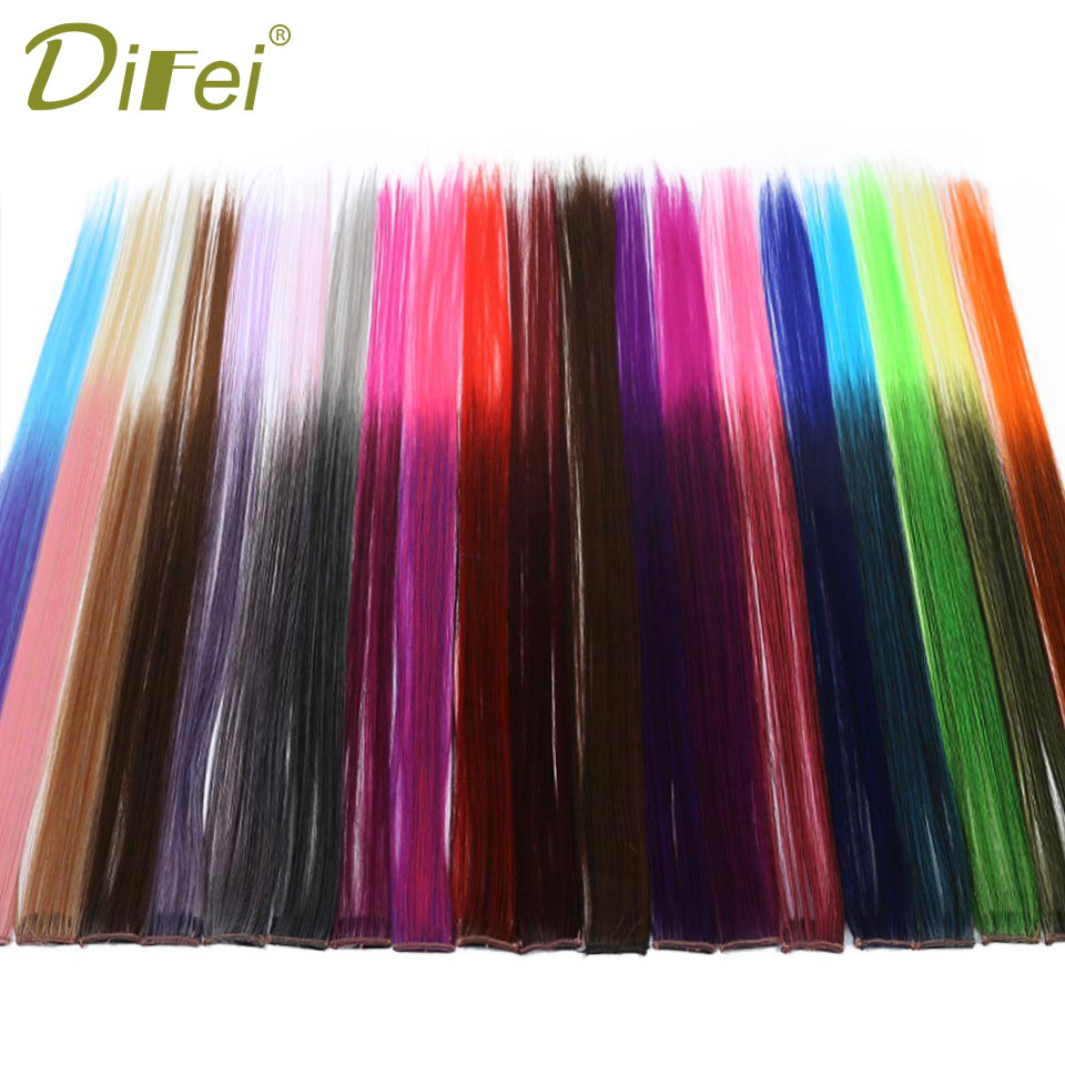 1 Clip In Hairpiec for Women DIFEI Long Straight colors 1 Clip In Hair Extensions Heat R ...