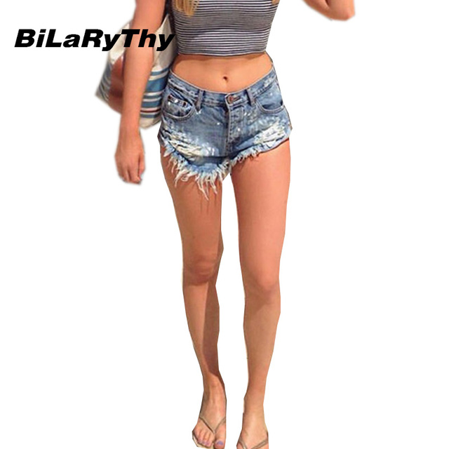Bilarythy beach summer fashion style mujeres pantalones cortos mid cintura agujeros rasgados pantalones cortos de mezclilla sexy mujer vaqueros cortos