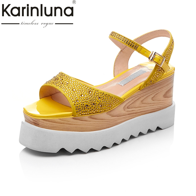 KarinLuna 2018 Top Quality Black Yellow Fashion Genuine Leather Sandals Women Leisure Wedge Heels Platform Casual Woman Shoes