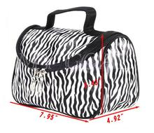 Promotion Fashion Ladies Nylon Bag Zebra Stripes Gold Capacity Makeup
