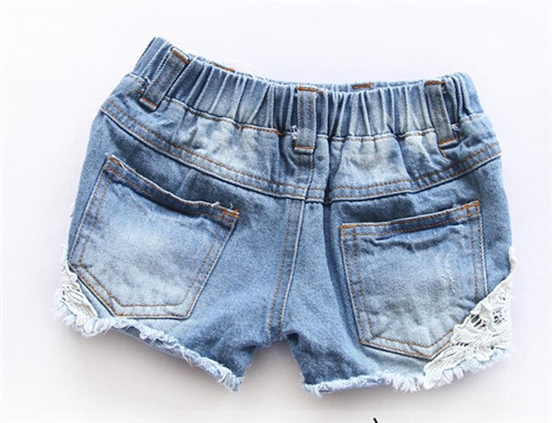 2015 summer lace worn girls drawstring washed denim shorts for ...