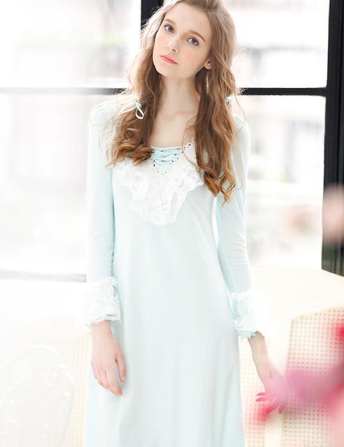 2017 Venda Promoção Mulheres Nightgowns Lace Completo Manga Longa Bonito Camisola de Design Da Marca Mid-calf Sleepshirts Homewear Feminino
