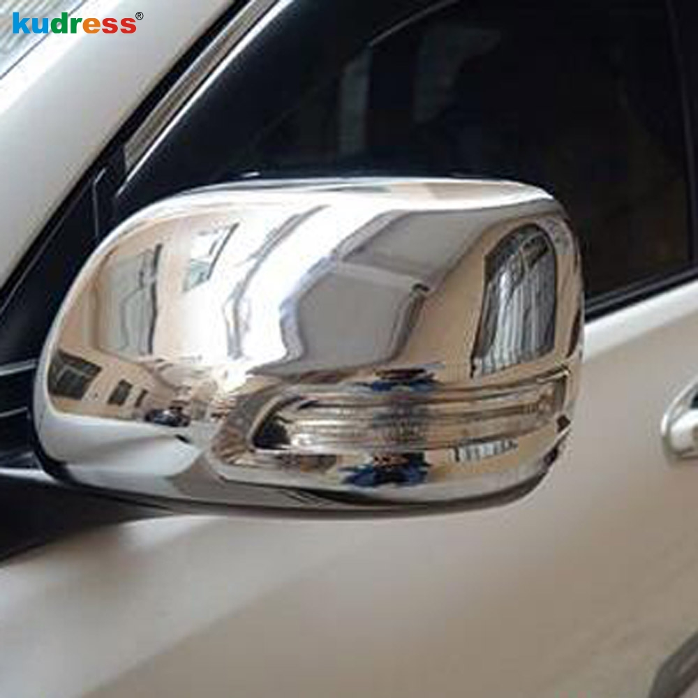 Chrome Rearview Side Door Mirrors Cover Trim For Toyota Prado Fj120 2003-2009