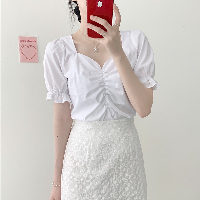 New Girls Summer Blouse V Neck Shirt Short Sleeves Tops High Waist Bud Silk Lace Embroidery A Line Skirts Two Two Piece Suits