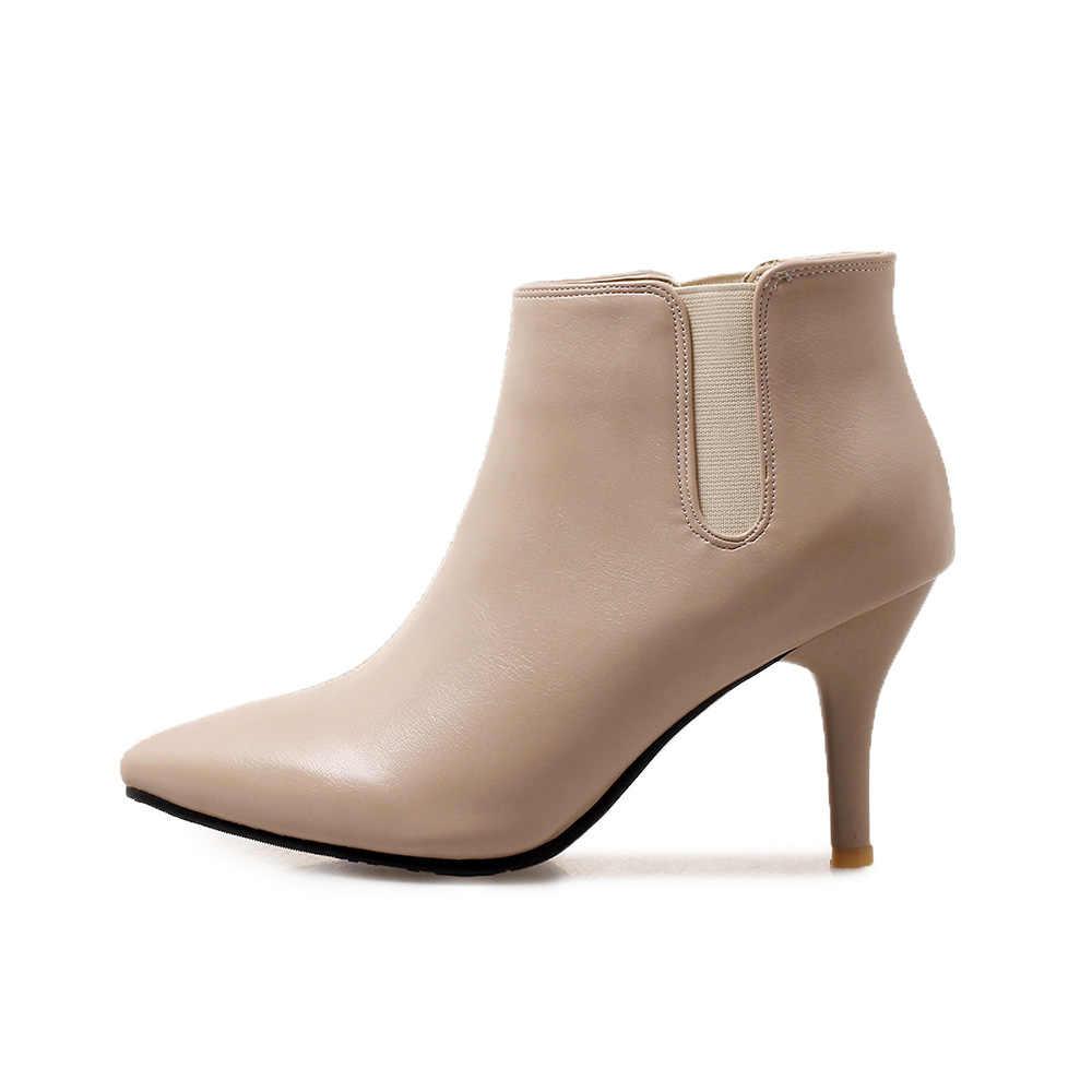 Marka Yeni Yumuşak Rahat Sarı Bej Kadın Çıplak yarım çizmeler Bayan Ayakkabıları Stiletto Topuklu WA394 Artı Büyük Küçük Boyutlu 10 32 46