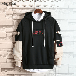 Hoodies Men Hooded Hole Letter Printed Loose Simple All-match Korean Style Harajuku Sweatshirts Mens Trendy Soft Clothing Chic 5