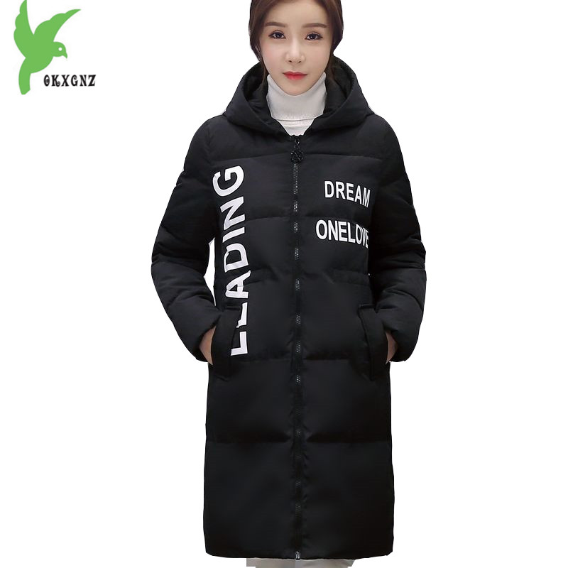 New Women Winter Down Cotton Long Coats Solid Color Hooded Fashion Casual Jacket Plus Size Thick Warm Windproof Coat OKXGNZ A941