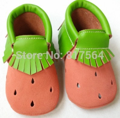 New watermelon fringe baby moccasins genuine leather soft sole prewalker for toddlers/infants moccasin cow suede tassel moccs