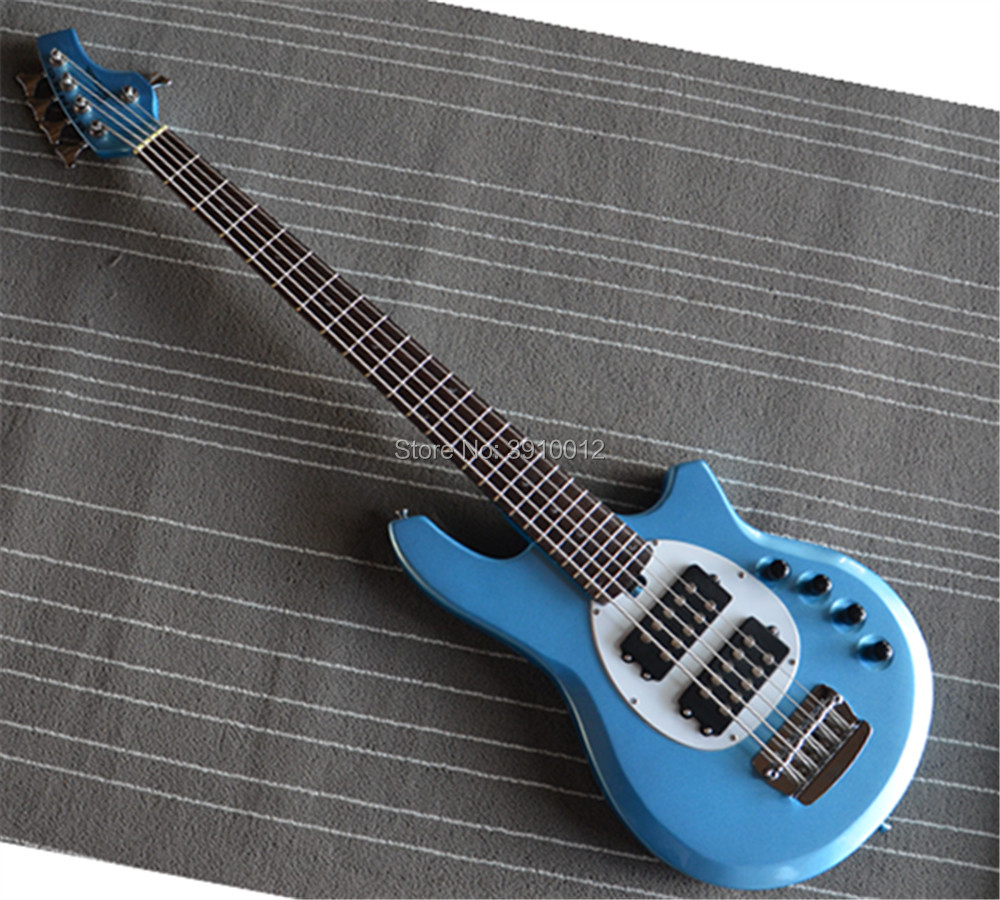 2018 new top quality music man 5 strings bongo electric bass guitar blue color free shipping in. Black Bedroom Furniture Sets. Home Design Ideas