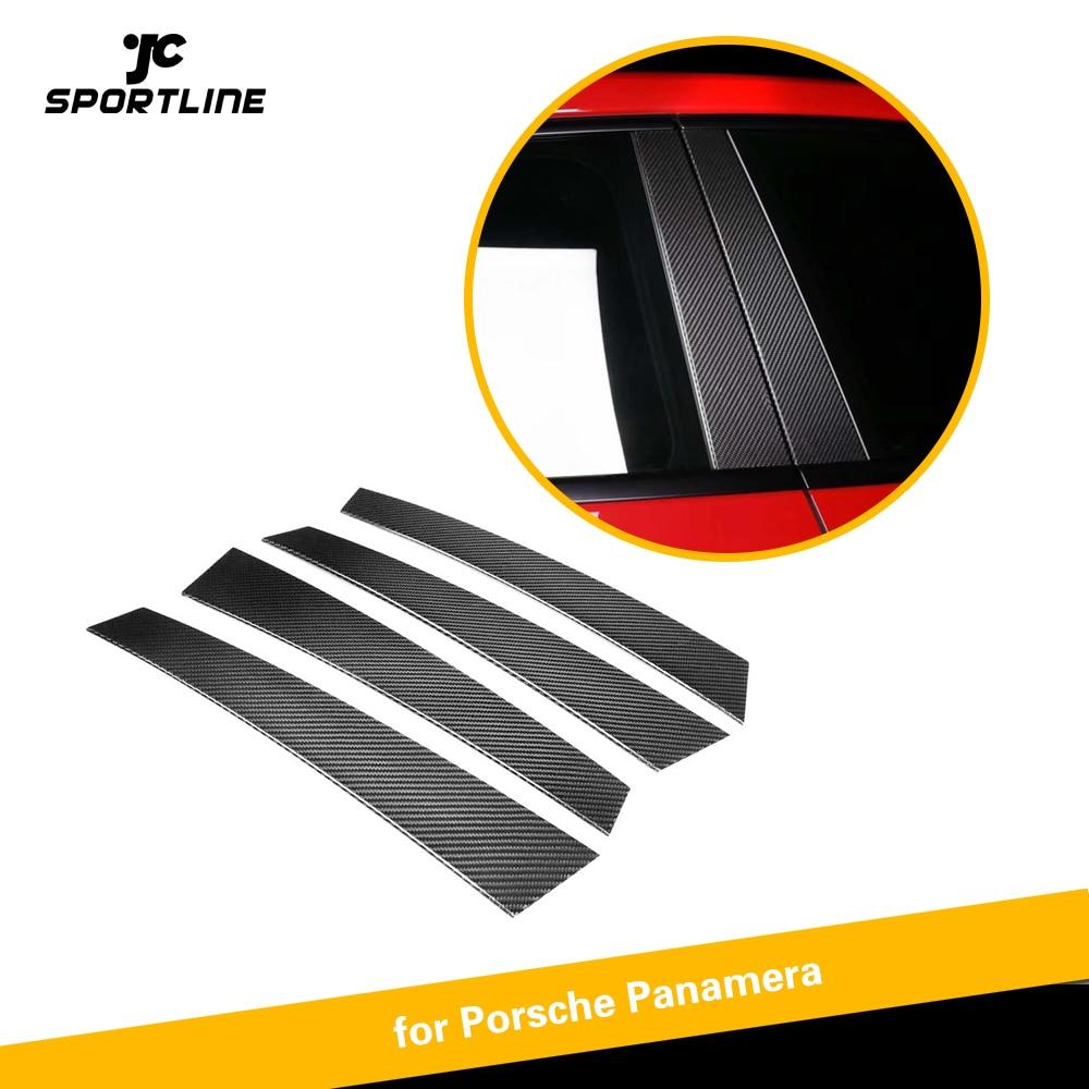 Pour Porsche Panamera 971 2017 2018 2019 fenêtre extérieure pilier Central poteaux couverture autocollant garniture en Fiber de carbone 4 pièces style de voiture