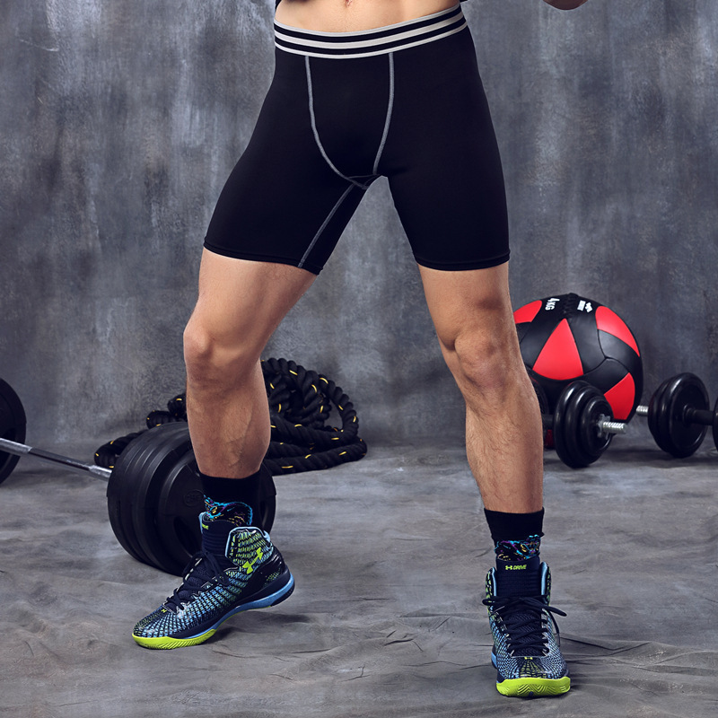 font b Fitness b font Shorts French Terry Men Compression Shorts Tights Men Leggings Elastic