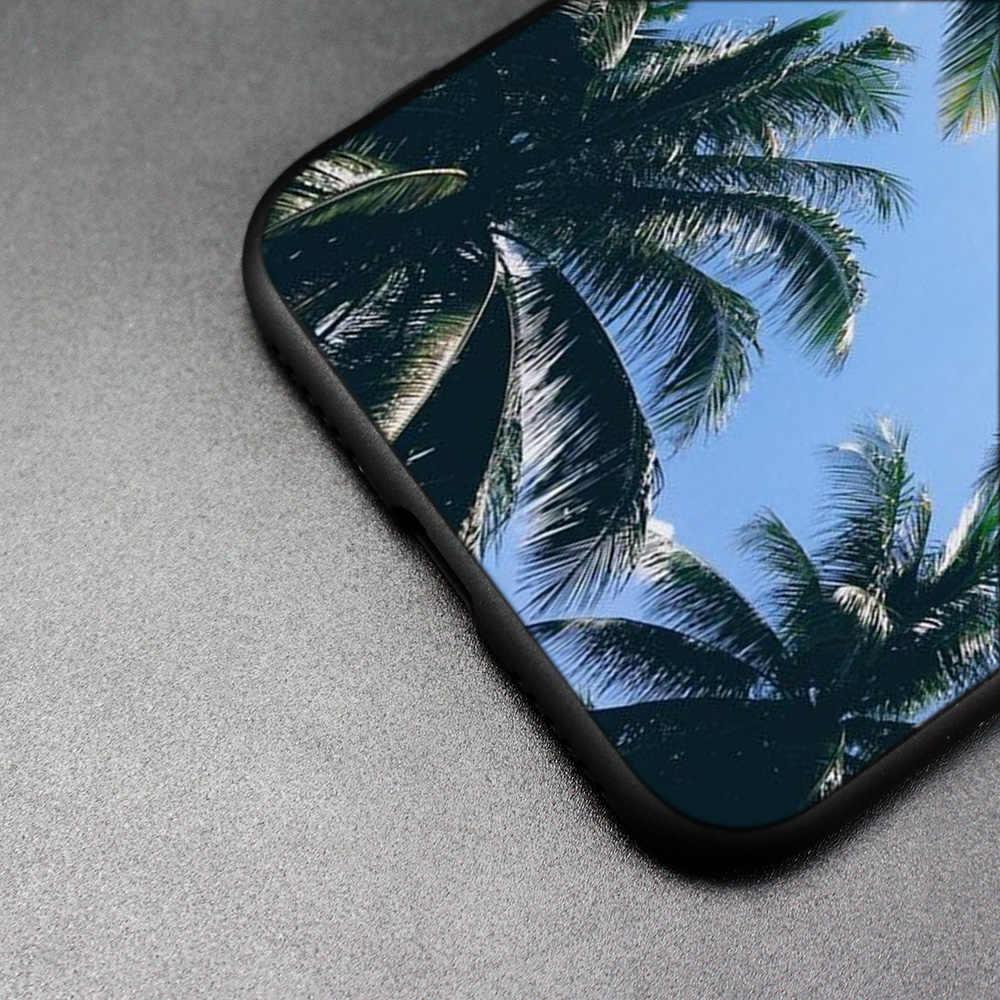 สำหรับ iPhone XS Max X XR 6 6 s 7 8 Plus 5 SE 5S ซิลิโคนโทรศัพท์กรณีนุ่มใบปาล์มต้นไม้