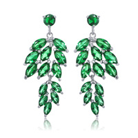 AAA Zircon Leaves Colorful Rhinestone Earrings for Women High Quality Fashion Personality Party Jewelry AB2048