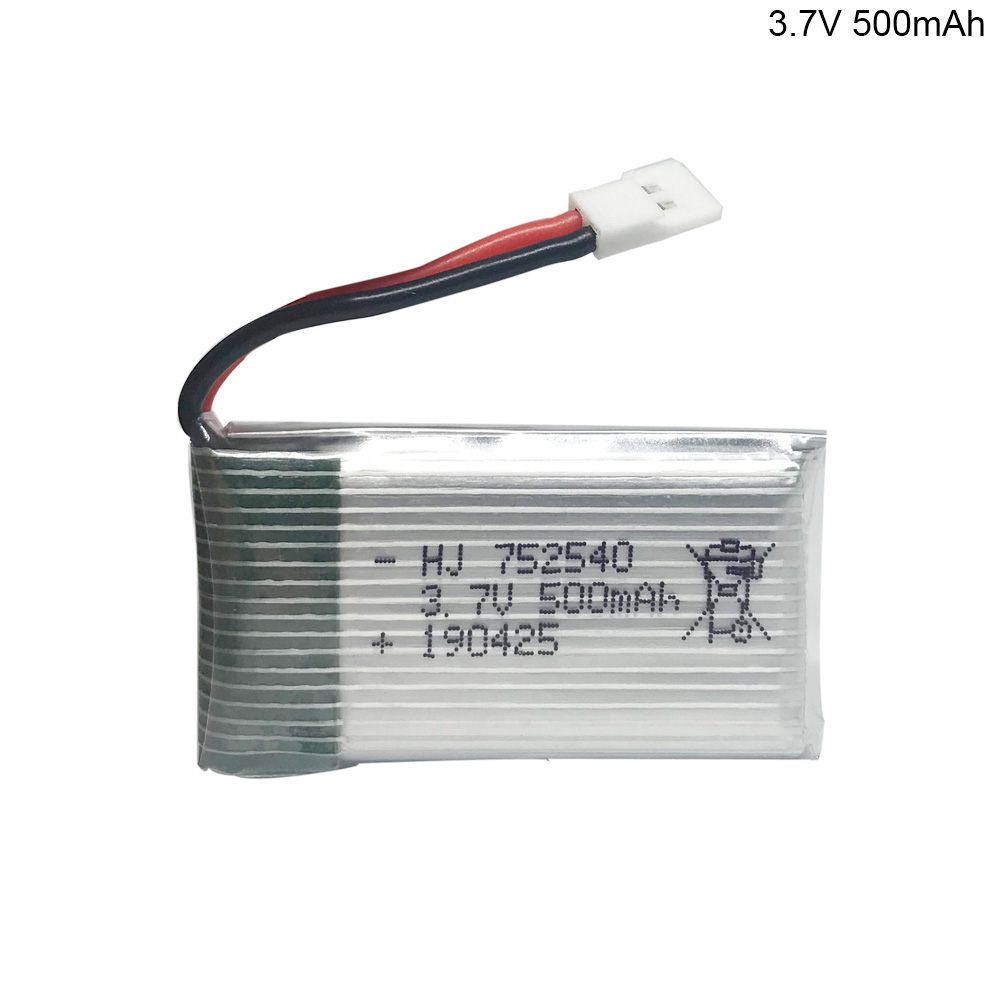 20PCS 3.7V <font><b>500mAh</b></font> Lipo <font><b>Battery</b></font> For Syma X5C X5SW M68 Cheerson CX-30 H5C quadrocopter 752540 1S 25C <font><b>3.7</b></font> V 500 mah lithium <font><b>battery</b></font> image