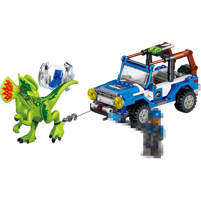 Hot 259 PCS Jurassic World Dinosaur with Chariot Soldier Meccano Compatible Lepins Educational Building Blocks Sets Bricks Toys 2 sets jurassic world tyrannosaurus building blocks jurrassic dinosaur figures bricks compatible legoinglys zoo toy for kids