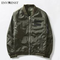 Envmenst 2017 Military Male Army Green MA1 Flight Bomber Jacket Baseball Varsity American College Pilot Air