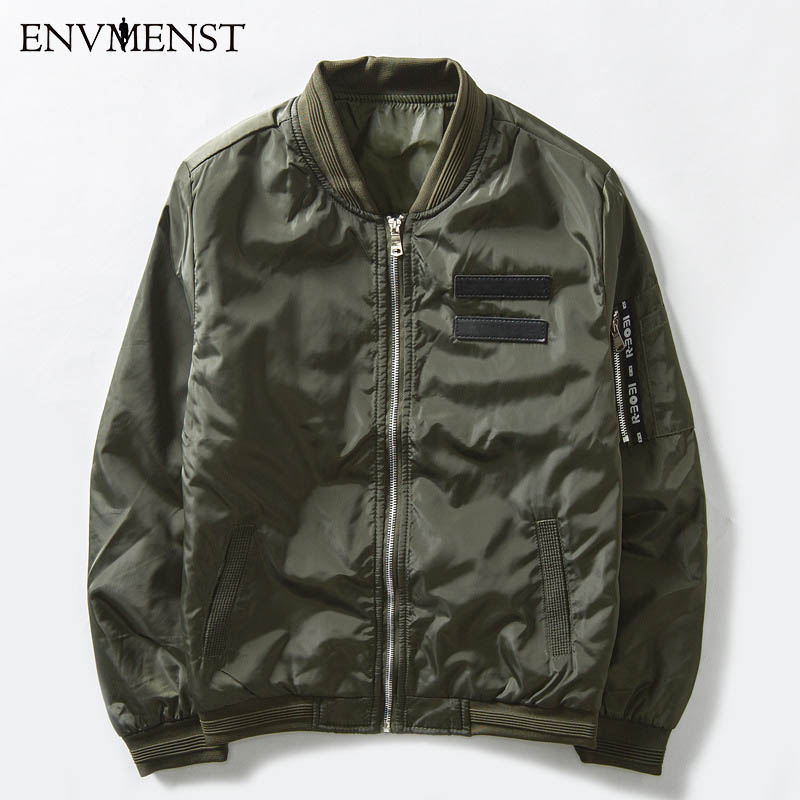 Envmenst 2017 Military Male Army Green MA1 Flight Bomber Jacket Baseball Varsity American College Pilot Air Force Coat For Men